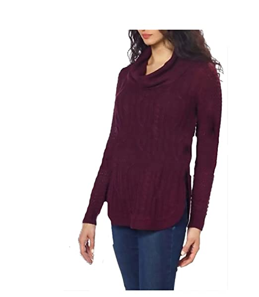 La Classe Couture Womens Cowl Neck Cable Knit Sweater Maroon Small