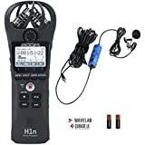 Zoom H1n Handy Portable Digital Recorder Bundle with Movo Lavalier Clip-on Omnidirectional Condenser Microphone