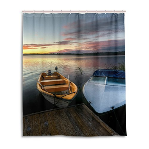 Bath Shower Curtain 60x72 Inch,Retro Boat Sunset,Waterproof Polyester Fabric Bathroom Curtain (Sunset Quilt Pattern)