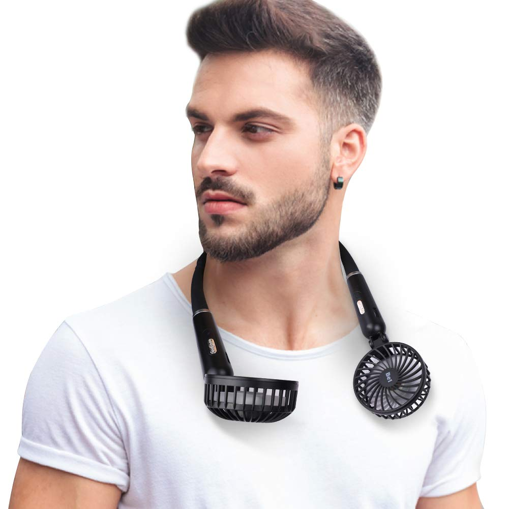 Be1 Hand-Free Neck Personal Fan for Sports Home Office, Fast Face Air Circulation for Breathless Sufferers, USB Battery Operated Neckband Fan, 2 Speeds, Comfortable Flexible Gooseneck, Strong Wind