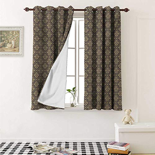- Oriental Blackout Draperies for Bedroom Classical Pattern with Damask Ornaments Antique Flourish Curly Leaves Pattern Curtains Kitchen Valance W72 x L63 Inch Taupe and Beige