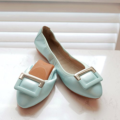 GAOLIM Sugerencia Fondo Plano Solo Zapatos Cómodos De Luz A Zapatos Planos Con Soja Rollos De Huevo Zapatos De Mujer Grandes Números 41-45 El azul