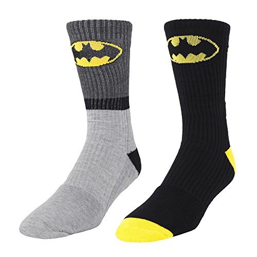 Batman Athletic Shoe (Batman Logo 2 Pair Men's Athletic Crew Socks Gray Stripe & Black,shoe size 6-12)