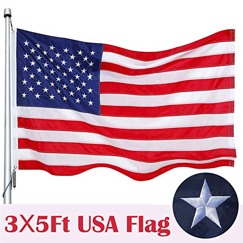 American Flag, 3x5 Ft Nylon US Flag - Embroidered Stars & Sewn Stripes Brass - Grommets Tough Durable Fade Resistant for All Weather Outdoor 3 X 5 Foot