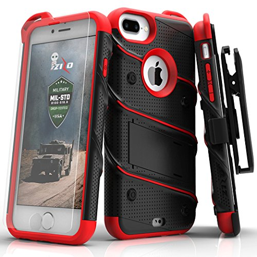 Price comparison product image Zizo Bolt Series Compatible with iPhone 8 Plus Case Military Grade Drop Tested Tempered Glass Screen Protector Holster iPhone 7 Plus case Black RED