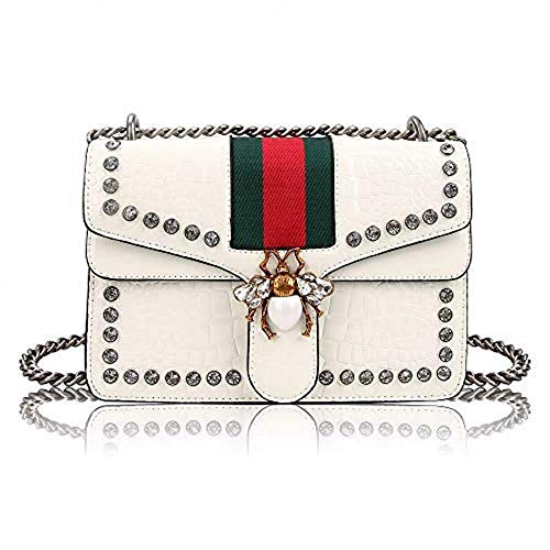 Womens Stylish Crossbody Bag Unique Bee Design Shoulder Bag Handbags Studded Rhinestone Quilted Genuine Leather with Chain Strap (White)