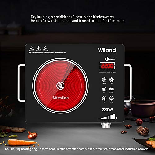 Portable Induction Cooktop Countertop Burner, 2200-Watt 120-Volts Smart Touch Sensor Countertop Induction Range Cooker, Stainless Steel Cookware with Temperature Control by Wiland (Image #1)