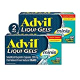 Advil Liqui-Gels Minis Pain Reliever and Fever Reducer, Ibuprofen 200mg, 320 Count (2 x 160 Capsules) , Fast Pain Relief
