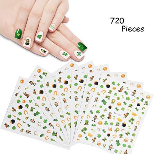 (Hapy Shop 720 Pcs Konsait St. Patrick¡¯s Day Decoration Nail Art Stickers, Leprechaun Shamrock Nail Sticker for little girls birthday Xmas Nail Tip Decoration)