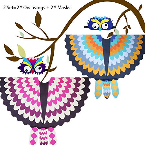 Kids Owl Costume Wings and Masks for Boys Girls Bird Feathered Shawl Party Favors, 2 Pack (Brother and -
