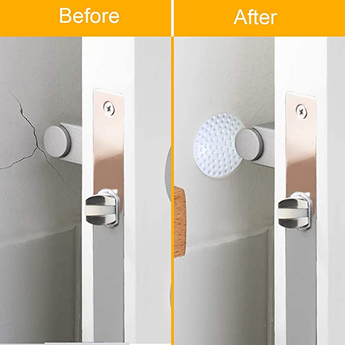 Huryfox Door Stopper Wall Protector for Door Handles White, 2inch x 2 inch x 0.5inch Silicone Self Adhesive Wall Shield for Cabinets Furniture 12Pack Door Knobs Bumper Guard Refrigerator
