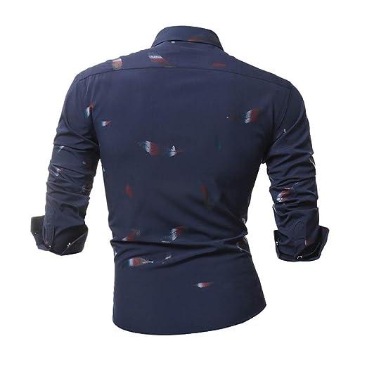 JiaMeng Camisa para Hombre - Blusa Casual de Manga Larga Top Cuello Alto de Color Sólido Blusas Suelta Camisa Estampada Delgada Casual Estampada: Amazon.es: ...