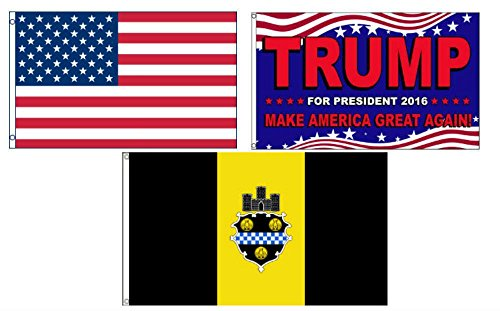ALBATROS 3 ft x 5 ft Trump 2016 with USA American with City of Pittsburgh Set Flag for Home and Parades, Official Party, All Weather Indoors Outdoors