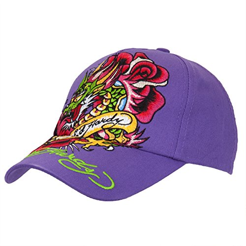 Ed Hardy - Dragon In Roses Girls Youth Adjustable Baseball Cap