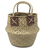 Natural Seagrass Belly Basket for Storage, Laundry, Plant Pot Holder Cover Planter, Mini Review