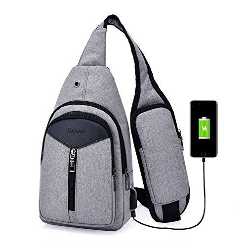 Gris USB antirrobo Hombre Impermeable Zhrui Nylon Bandolera Bolso Gris Bandolera wq4O4g