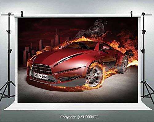 (Photography Backdrops Red Sports Car Burnout Tires in Flames Blazing Engine Hot Fire Smoke Automobile Decorative 3D Backdrops for Photography Backdrop Photo Background Studio)