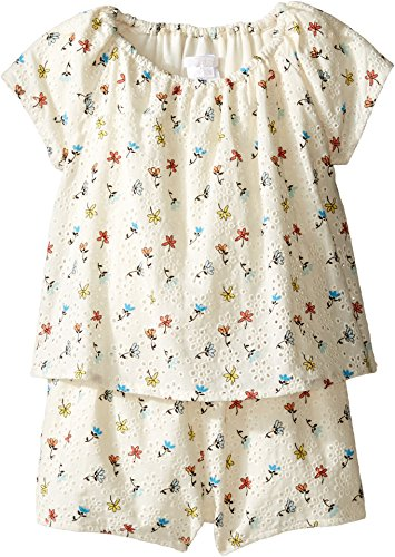 Chloe Kids Baby Girl's Flowers Embroidery Short Overalls From Adult Collection (Infant) Imprime Shorts by Chloe and Madison