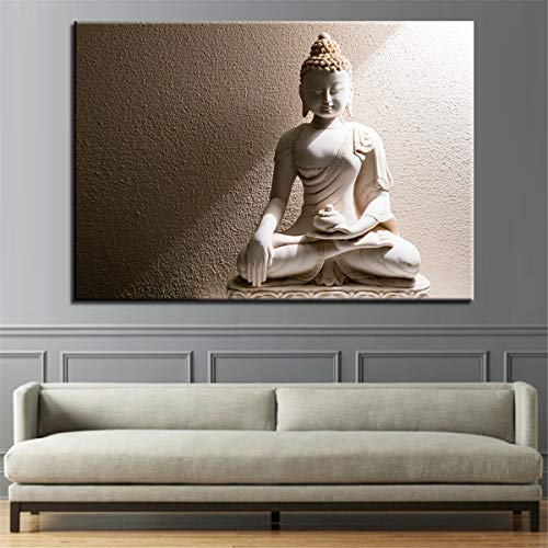 DOLUDO 1 Pieces Modern Home Decor Pictures for Living Room White Marble Buddha Wall Art Posters HD Canvas Oil Paintings Framed No Frame Only Canvas