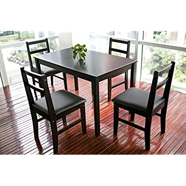 Merax 5-piece Dining Sets,4 Person Dinning Table and Cushion Seat Dinning Chairs - Dark Espresso