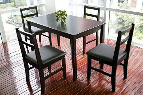Merax Soild Wood 5-piece Dining Sets, 4 Person Dinning Table