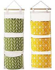 Over The Door Closet Organizer, 2 Packs Wall Hanging Storage Bags with 3 Pockets for Bedroom & Bathroom (Green + Yellow)