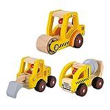 KIDS TOYLAND Pre-Kindergarten Toys Construction Vehicles Kids Wood Play Sets Puddle Truck+Road Roller Truck+Rooter Truck (3 Wooden car Models)