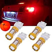 TUINCYN 4-Pack 1000 Lumens Red Super Bright 3157 3156 3457 3047 3057 3057A 3155 4014 54SMD Car LED Replacement Bulbs Tail Backup Stop Lights Turn Signal Reverse Brake LED Light with Lens DC 12V