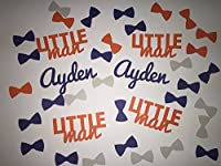 Little Man Baby Shower Personalized Confetti - Bow Ties and Name Confetti - 350 pieces in orange, navy blue, and grey