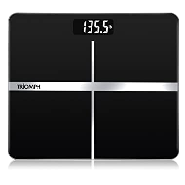 Triomph Precision Digital Body Weight Bathroom Scale with Backlit Display, Step-On Technology, 400 lbs Capacity and Accurate Weight Measurements, Black