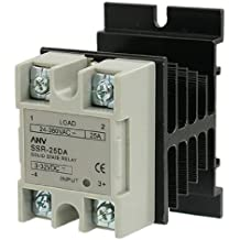 uxcell Heat Sink Solid State Relay SSR-25 DA 25A 3-32V DC / 24-380V AC