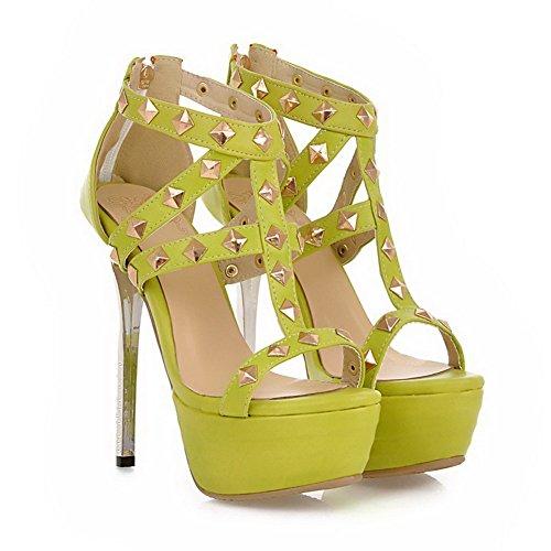 VogueZone009 Women's Soft Material Zipper Open Toe High Heels Solid Sandals Lightgreen m3oMf7T