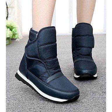Botas de la mujer confort confort informal de primavera de tela plana negra azul Blue