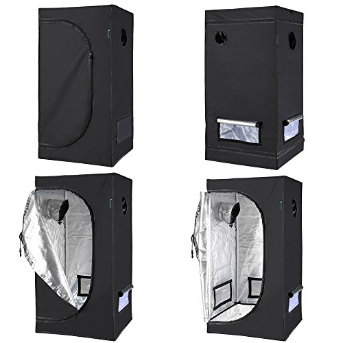 "51At5FbDwqL - IDAODAN 2x2x4 Feet Small Indoor Mylar Hydroponic 600D Grow Tent Room with Floor Tray (24""x 24""x 48"")"