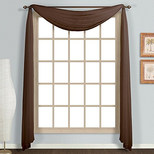 (Amari Linen - Different Colors 1 PC Window Treatment Soild Sheer Scarf Valance (37x216, Chocolate))