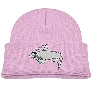 MingDe YY Happy Shark Wearing Sunglasses And Holding Child Warm Knitted Beanie Cap Wool Cotton Cap Skull Hat
