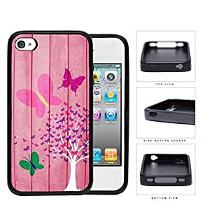 Pink Butterfly Tree On Wood Backdrop Rubber Silicone TPU Cell Phone Case Apple iPhone 4 4s