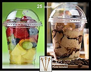 Pack of 25 Clear Plastic Parfait Cup 12 oz with Dome Lid