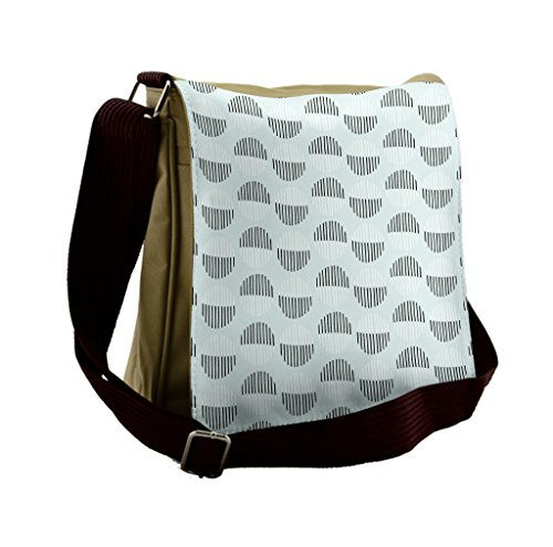 Blue Striped Messenger Bag - Lunarable Pale Blue Messenger Bag, Striped Spots Geometric, Unisex Cross-body