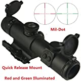 M1SURPLUS SPETSNAZ Style 4x21 Compact Scope (illuminated Mil-Dot Reticle w/ Digital Switch) + Integral Quick Detach Mount + Lens Covers + Adjustable Focus / Fits Weaver Picatinny Rails
