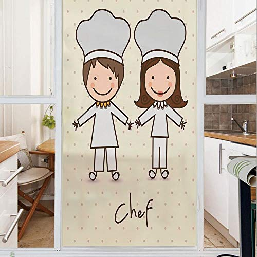 Decorative Window Film,No Glue Frosted Privacy Film,Stained Glass Door Film,Chef Hat and Uniform Kitchware Vintage Style Design Home and Cafe Polkadots Kids,for Home & Office,23.6In. by 59In Pastel Bl