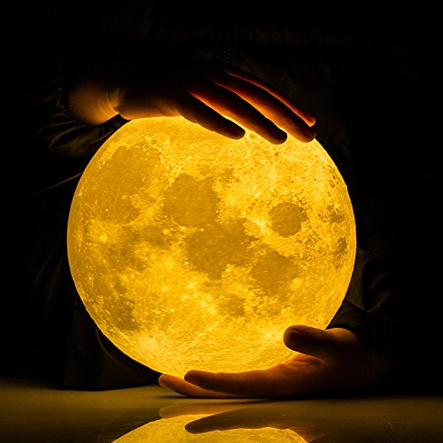Price comparison product image Extra Large!!! GPJOY 3D Moon Lamp Rechargeable Lunar Night Light Dimmable Touch Control Brightness Two Tone Home Decorative Lights Baby Night Light with Wooden Stand, Diameter 7.3 Inch