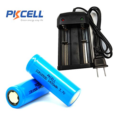 3.7V 18500 Li-Ion Rechargeable Batteries with Flat Top (2pc+Charger)