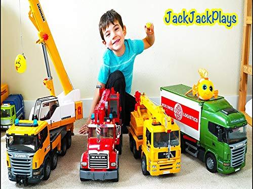 Pretend Play Crane Truck Fishing Plus Hidden Surprise Eggs Plus Geode - Tractor Egg