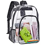 Clear Backpack, Heavy Duty See Through Backpack, Transparent Large Bookbag for College, Work, Security Travel & Sports