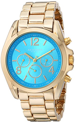 Akribos XXIV Women's AK760YGTQ Swiss Quartz Movement Watch with Turquoise Sunburst Effect Dial and Yellow Gold Bracelet