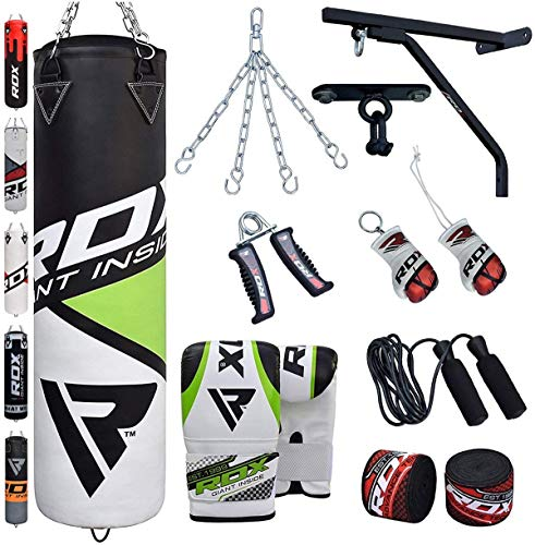RDX Punching Bag Filled Wall Bracket Boxing Training MMA Heavy Punch Gloves Chain Ceiling Hook Muay Thai Kickboxing 14PC Martial Arts 4FT 5FT Set from RDX