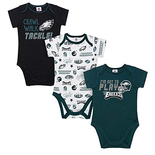 NFL Philadelphia Eagles Unisex-Baby 3-Pack Short Sleeve Bodysuits, Green, 0-3 Months