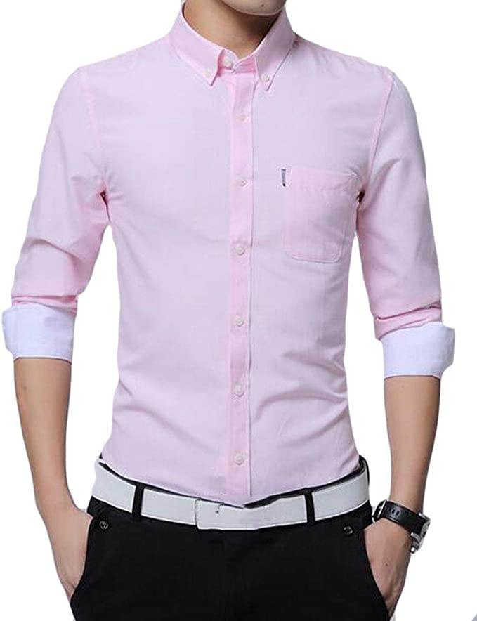 KLJR Men Formal Regular Fit Long Sleeve Casual Stripe Button Down Dress Shirts