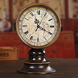 zhenyu Vintage 6inch Double Sided Desk Table Clock Round Iron Classic Home Decoration Ornament